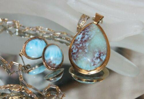 ESTATE VINTAGE  Rare Natural LARIMAR Pendant Earring Set ~  14k solid gold