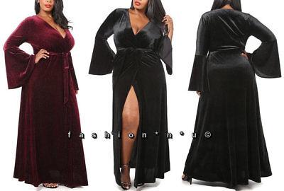 (Plus Ruffle Bell Sleeve Slit Front Wrap Maxi Dress Black Burgundy Velour Velvet)