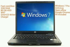 CHEAP & FAST HP Laptop Core 2 Duo 2GB RAM 80gb DVDRW WiFi, Windows 7