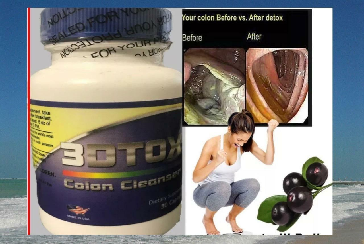 3 Detox Colon & Body Cleanse Maximum Strength Cleansing Diet Weight Loss Pills