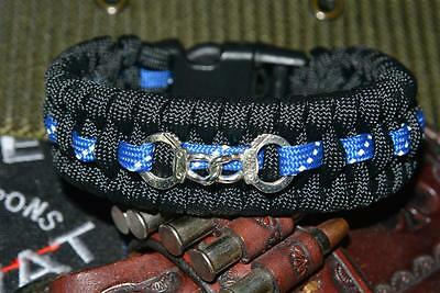 Thin Blue Line Reflective Paracord Bracelet with Hidden Handcuff Key THE BACKUP