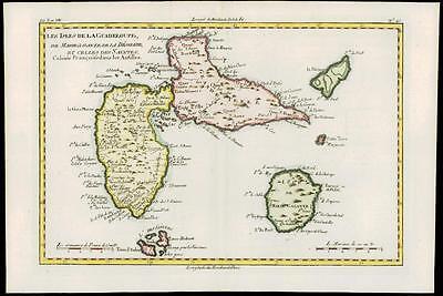 1780 Antique Map ISLES DE LA GUADELOUPE ANTILLES Marie Galante Saintes by Bonne