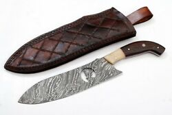 Handmade Damascus Chef Knife 12 Inches With Wire Cut Work Bone  Wood Handle 1072