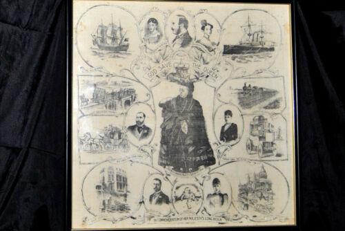 "Antique Original Print on Silk ""GOD SAVE THE QUEEN"" Her Majesty Queen Victoria"