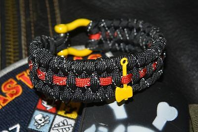 Black Reflective Firefighter Fire Rescue Bunker Turnout Gear Paracord Bracelet