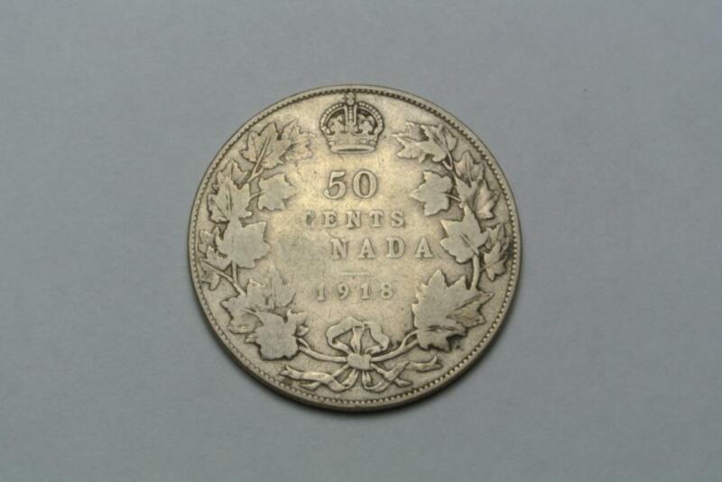 1918 Canada 50 Cents, Half Dollar, VG Condition - C8130