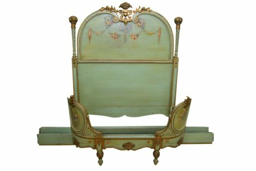 Antique Low French Green Twin Bed Carved Gilded Hand Painted Floral Motif