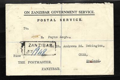 ZANZIBAR, 1932 REGISTERED COVER, ON GOVT SERVICE COVER TO UK, STAMPS ON BACK,