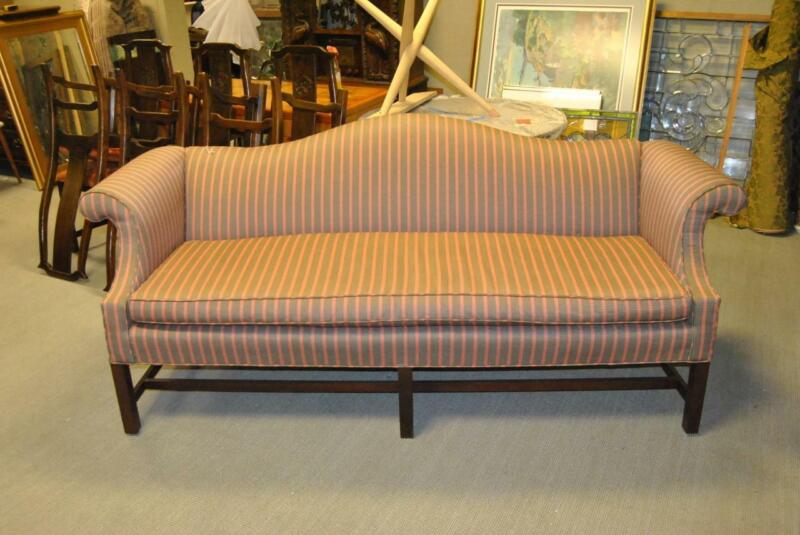 Camel Back Sofa Commercial Grade Salmon And Sage  Fabric Walnut Frame 85""