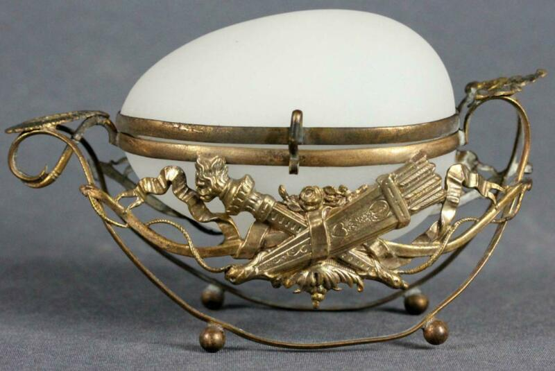 Antique Palais Royal French BACCARAT white Opaline Glass egg-shaped wedding gift