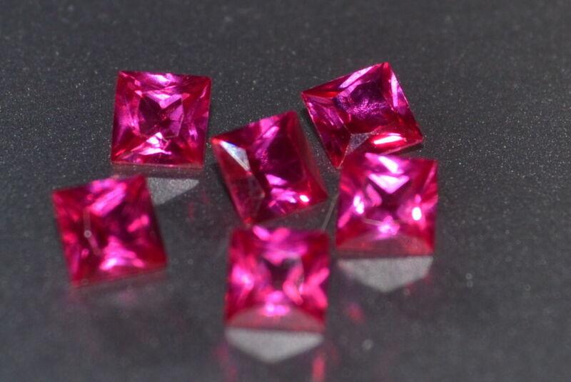 A Single Gorgeous 4mm VVS Princess Cut Genuine Red Ruby!!!