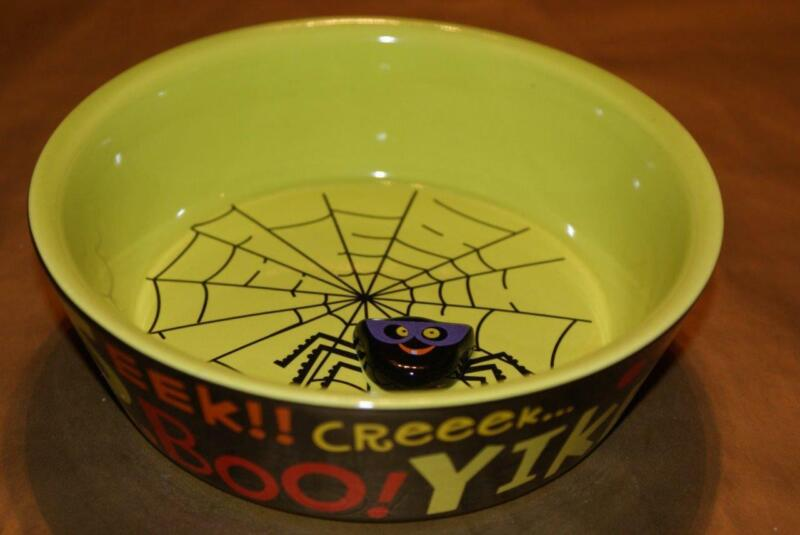 HALLMARK Halloween Ceramic Lime Green & Black Candy/Nut Bowl 3D Raised Spider