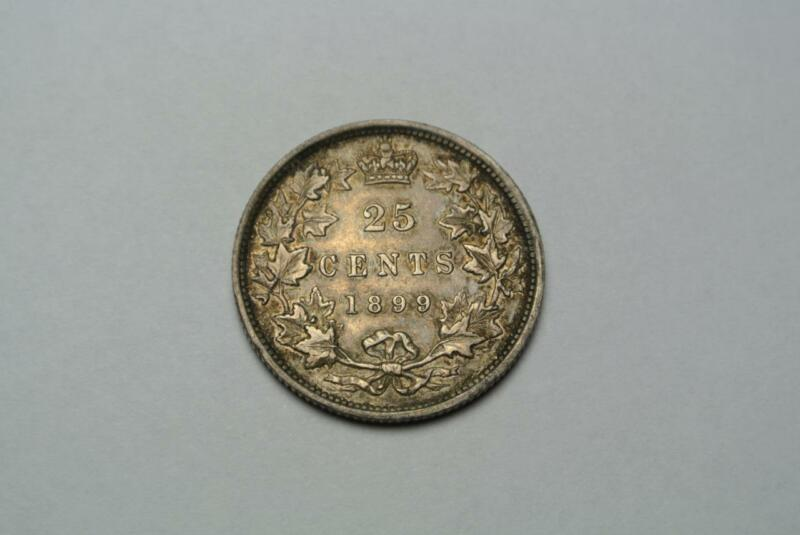 1899 Canadian 25 Cent Quarter, VF/XF Condition, From Canada - C6640