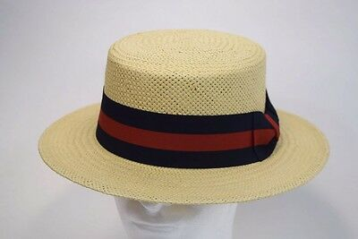 Mens Dress Casual Boater Hat Skimmer Sailor Barbershop Straw Natural S, M, L, - Skimmer Straw Hat