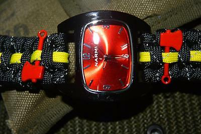 Black Reflective Firefighter Fire Rescue Bunker Turnout Gear  Paracord Watch