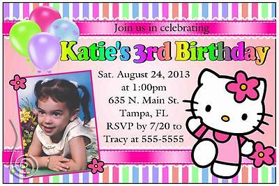 HELLO KITTY BIRTHDAY INVITATIONS DESIGN W/PHOTO (Hello Kitty Invitations)