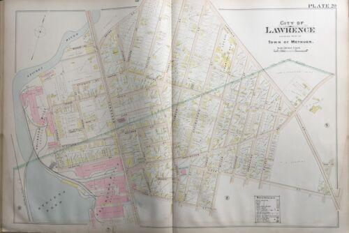 ORIGINAL 1896 MASSACHUSETTS, METHUEN STEVENS POND BROWN ST TO PARK ST ATLAS MAP