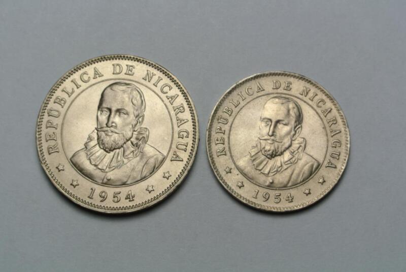 1954 Nicaragua 25 & 50 Centavos, Gem CHOICE BU! - C5610A