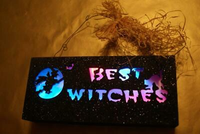 "Lillian Vernon Strobe light up black glitter wood sign ""BEST WITCHES"" NEW/BOX!"