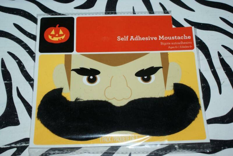 HALLOWEEN Large self Adhesive Fuzzy Handlebar Moustache - NEW/SEALED
