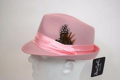 (Men's Fedora Dress Hat Cuban Style Upturn Short Brim Casual Cap Solid Pink)