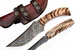 Custom Handmade Damascus Steel Hunting Knife Ram Handle (With Sheath) 145 Ram