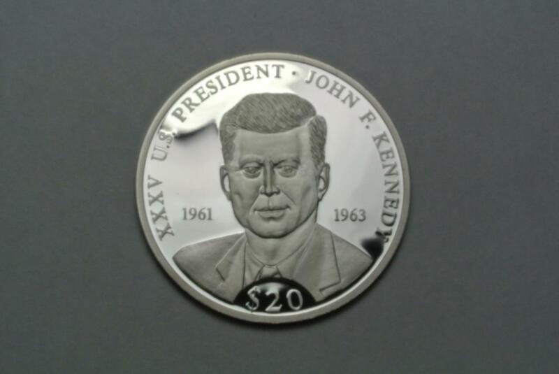 Liberia 2000 Kennedy Proof 20 Dollars .999 Silver - C7895