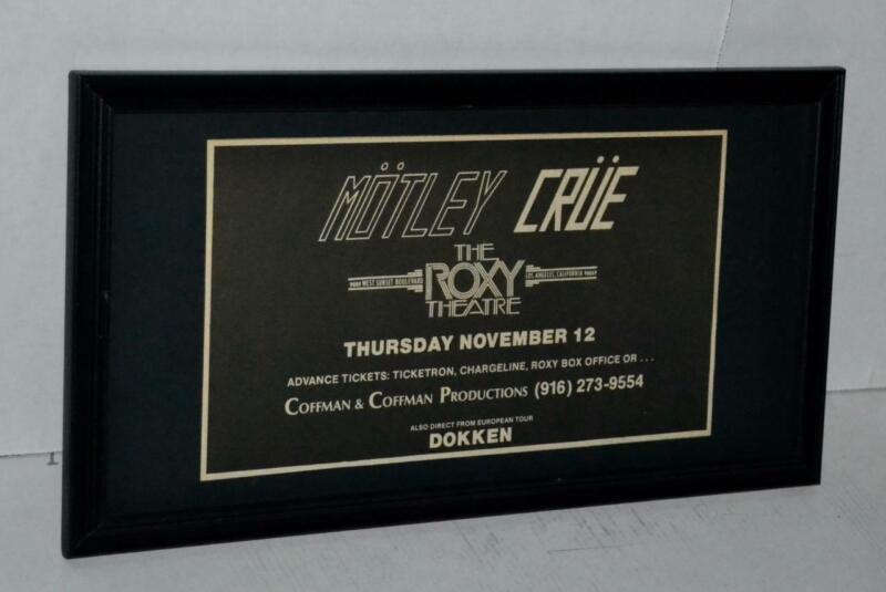 MOTLEY CRUE RARE 1981 RARE 1ST EVER TOUR 29TH CONCERT COFFMAN COFFMAN FRAMED AD