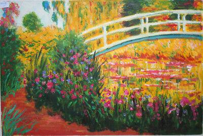 handgemalte Reproduktion d. Ölgemäldes,Monet, Japanische Brücke,40x60cm