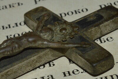 ANTIQUE Pectoral Cross Orthodox Catholic icon CRUCIFIX amulet Pendant German vtg