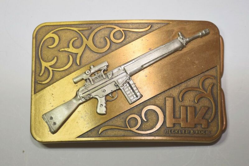 HECKLER & KOCH HK 91 BELT BUCKLE IN A WORLD OF COMPROMISE HK RARE VINTAGE
