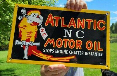 VINTAGE DATED 1955 ATLANTIC GASOLINE PORCELAIN ENAMEL OIL GAS PUMP STATION SIGN