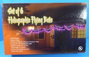 Set of 6 Holographic Flying Bats Elec. String Lighted Halloween Indoor/Outdoor