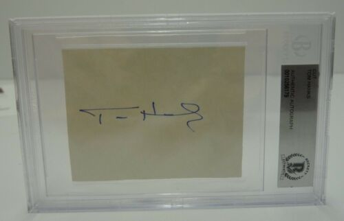 Tom Hanks Signed Autographed 2.25x3 Cut Paper Beckett Certified Slabbed