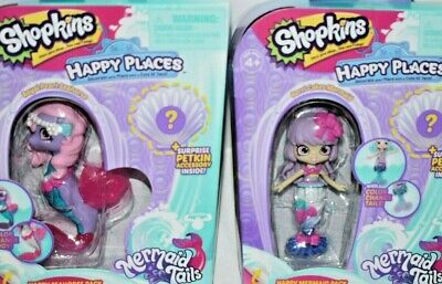SHOPKINS HAPPY PLACES MERMAID TAILS SET ROYAL PEARL SEAHORSE & BERRI CAKES NRFB