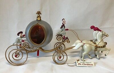 VTG Mr Christmas Disney Princess CINDERELLA PUMPKIN CARRIAGE Horses Lights Magic