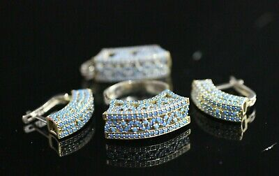 Turkish Handmade Jewelry Sterling Silver 925 Turquoise Ring Earring Set 7 8 9
