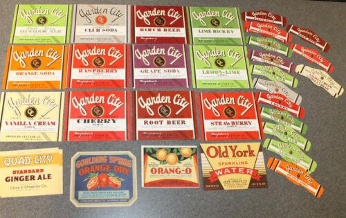 Lot of 43 Vintage Soda Labels Sparkling Water, Ginger Ale, Orang-O