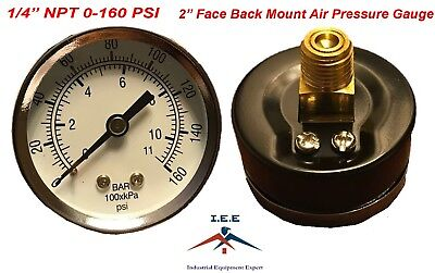 Air Compressor Pressurehydraulic Gauge 2 Face Back Mount 14 Npt 0-160 Psi