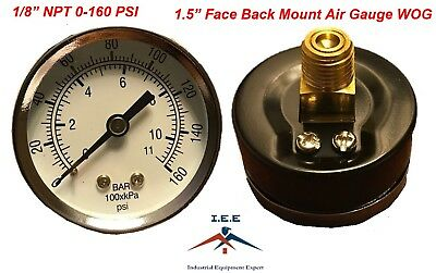 Air Compressor Pressurehydraulic Gauge 1.5 Face Back Mount 18 Npt 0-160 Psi