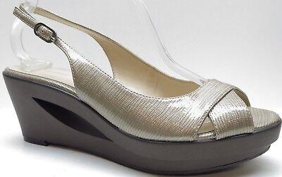 Calvin Klein Brown Patent Leather Slingback Platform Wedge Sandals Heels 8.5