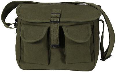 Olive Drab 2 Pocket Canvas Military Ammo Carry Shoulder Bag Bags