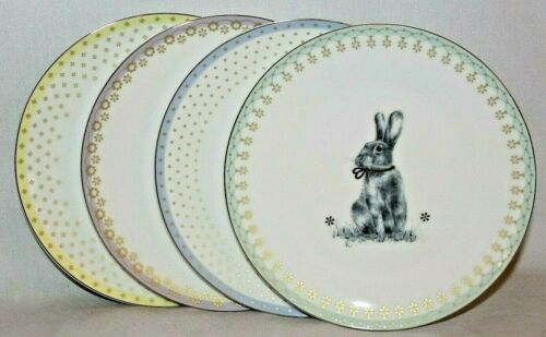 SPODE Meadow Lane Easter Bunny Rabbit Set of 4 Porcelain Salad Side Plates New