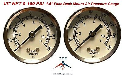 2 Air Compressor Pressurehydraulic Gauge 1.5 Face Back Mnt 18 Npt 0-160 Psi