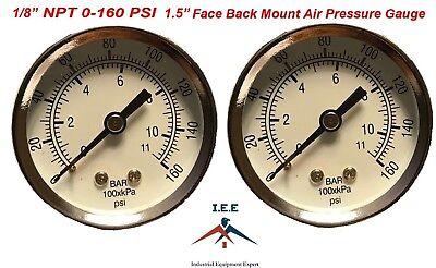2 Air Compressor Pressurehydraulic Gauge 1.5 Face Back Mnt 18 Npt 0-160 Psi