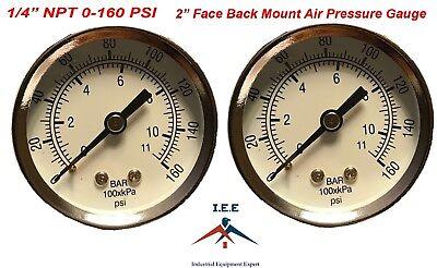 2 Air Compressor Pressurehydraulic Gauge 2 Face Back Mnt 14 Npt 0-160 Psi