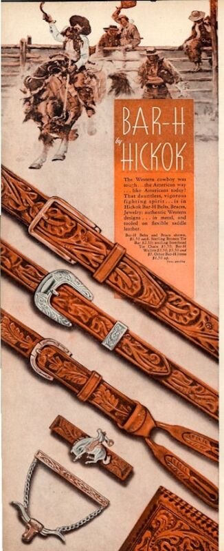 1944 Hickok PRINT AD Bar-H Western Cowboy Style Belts Tie Bar Chain