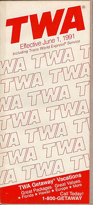 TWA system timetable 6/1/91 [308TW] Buy 2 Get 1 Free