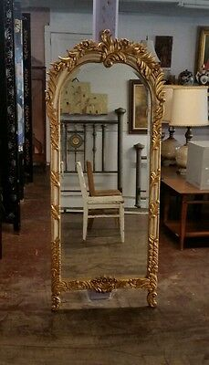 Antique hand carved and painted French floor mirror