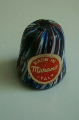 C. 1976 Vintage Thimble VENICE MURANO Glass, Made in Italy Original Label
